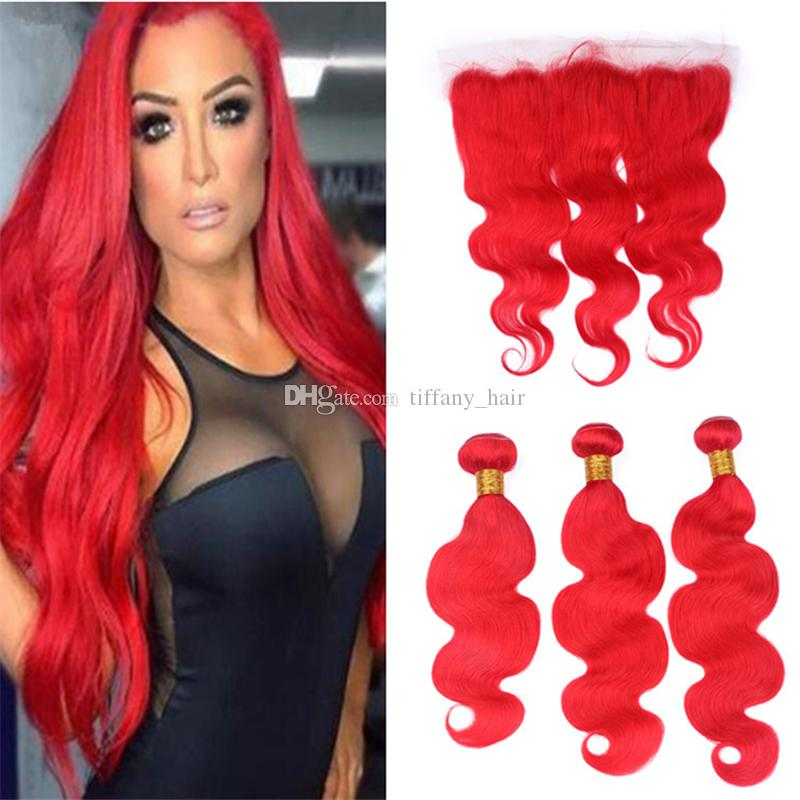 2018 Virgin Malaysian Red Human Hair Weave 3 Bundles With Lace
