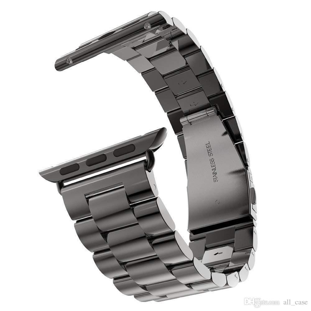 526427f8318 Compre Pulseira Para A Série De Relógio Da Apple 4 40mm 44mm Pulseira De  Metal De Aço Inoxidável Banda De Substituição De Negócios Para A Apple  Watch Iwatch ...