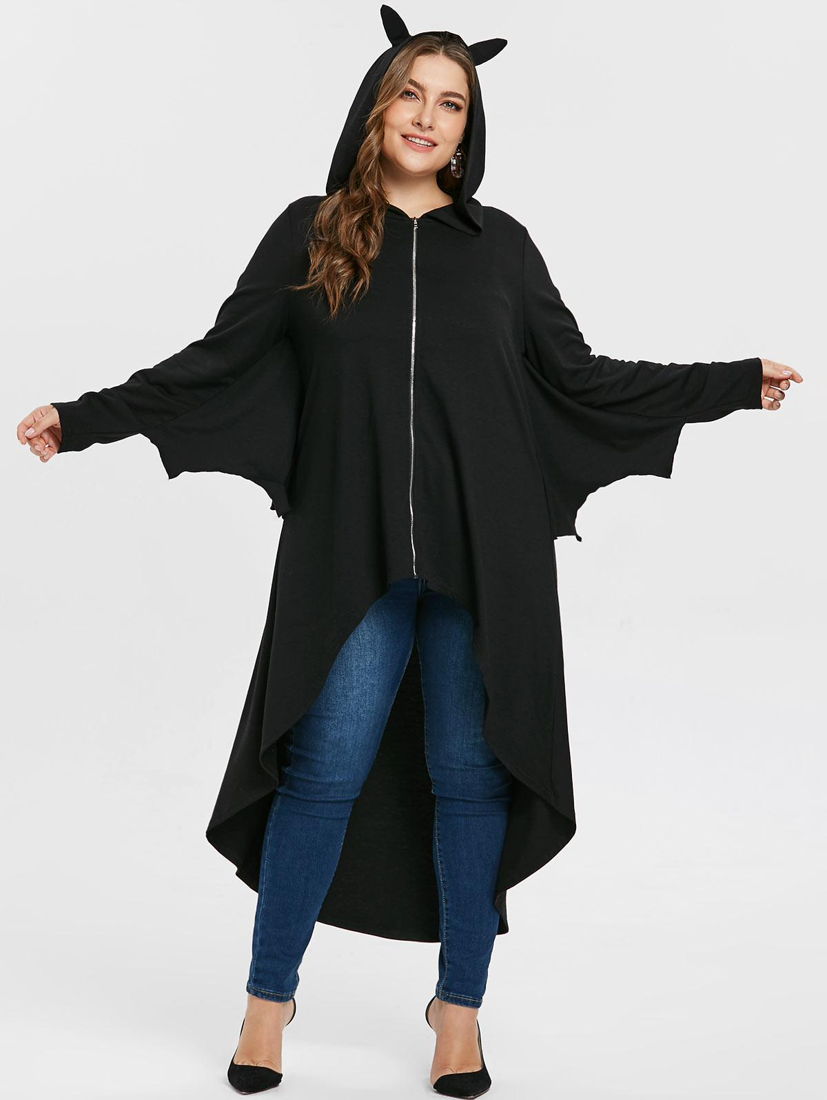 7ac28d9ac4cf9 Wipalo Plus Size 5XL Batwing Sleeve High Low Asymmetrical Halloween Coat  Women Autumn Casual Solid Hooded Long Outwear Overcoat Online with   70.39 Piece on ...