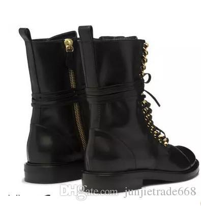 Europe and the United States Street Magazine magazine new black leather Martin boots personality fashion flat short motorcycle boots