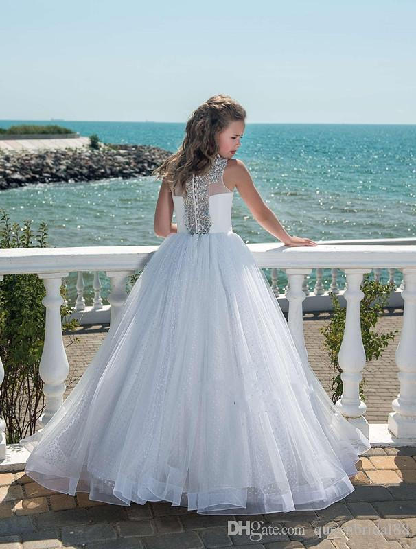 Bling strass perles Jewel cou manches Little Girls Pageant Robes longues PRÉCÉDENT Tulle Robes pour les mariages