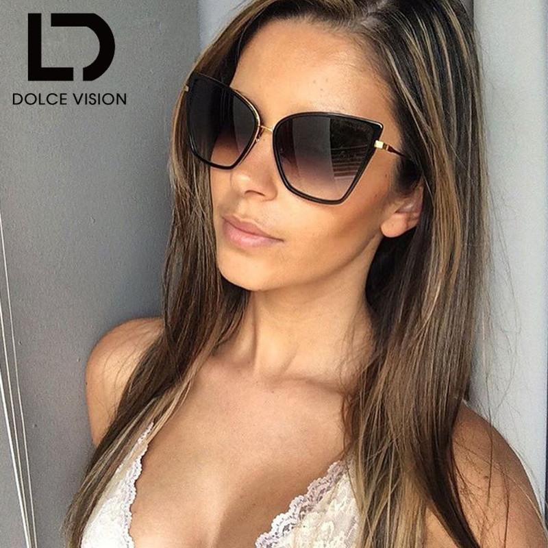 10098d7c3c DOLCE VISION Sun Glasses For Women Sunglasses Cat Eye Female Coating Fashion  Shades Sunglass High Quality Oversized UV400 Shades Cycling Sunglasses  Running ...