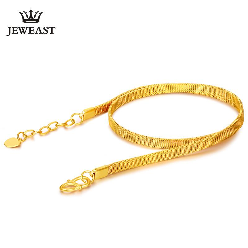 f658edca64d7d 24K Pure Gold Necklace Bracelet Real AU 999 Solid Gold Chain Bangle Elegant  Charming Upscale TrendyParty Fine Hot Sell New 2018