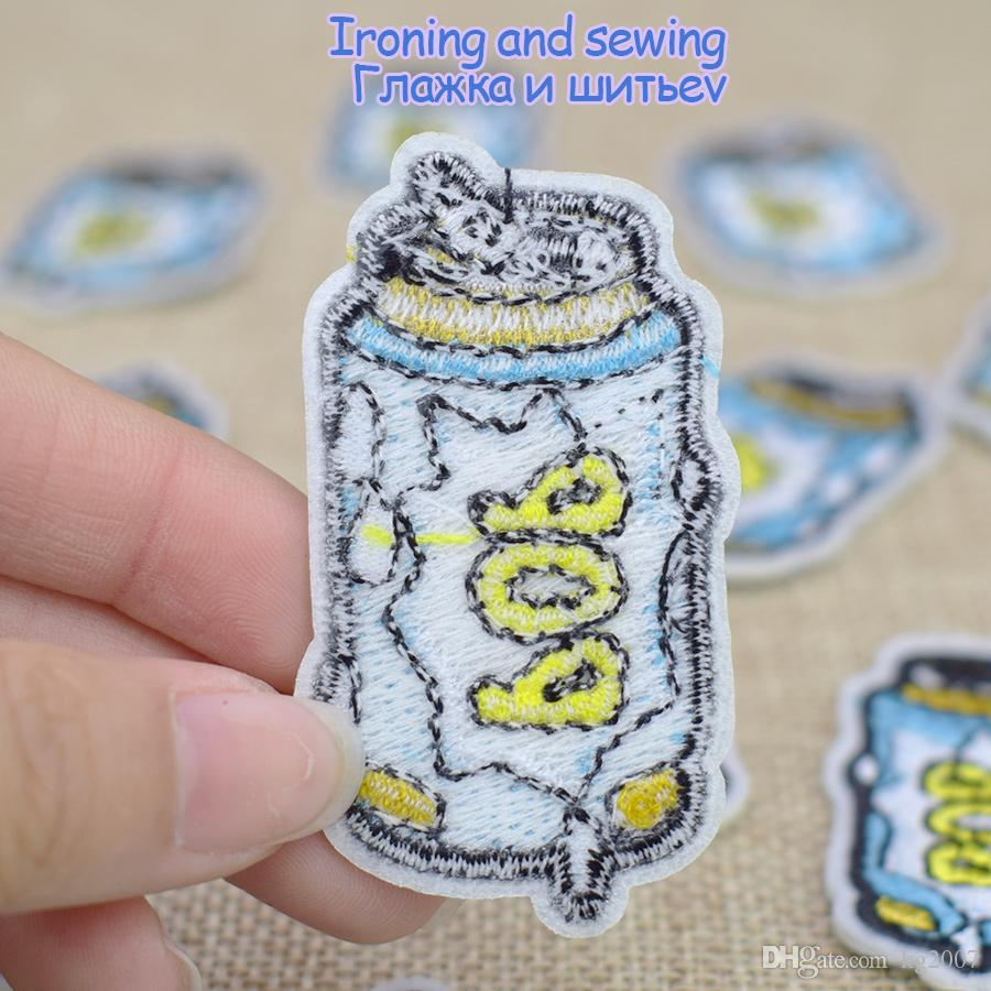 Diy POP Drink Embroidery Patches for DIY Applications Sewing Accessories Patch for Applique Iron on Kids Clothes Fabrics Badges Patch
