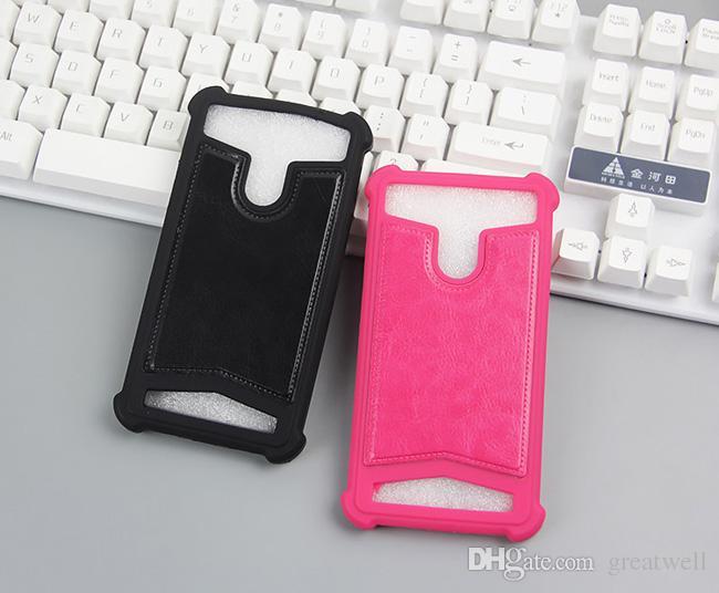 Universal tpu capa de silicone phone case de couro para iphone samsung huawei 4.0 a 5.7 polegada com anel de suporte celular casos
