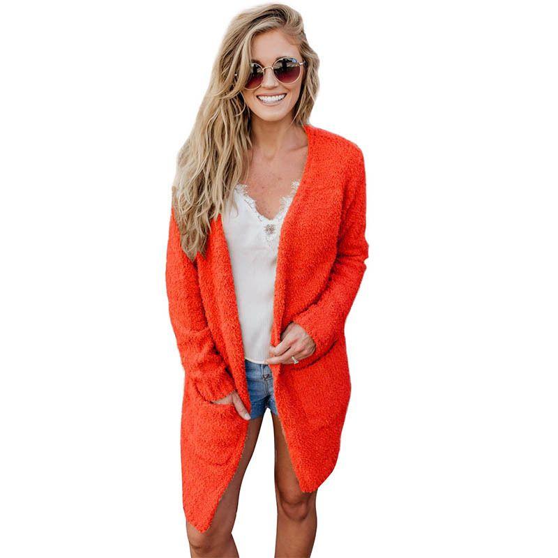 a0bdaaa05 Women Fuzzy Faux Fur Fleece Cardigan Fluffy Solid Color Open Front Long  Sleeve Casual Warm Autumn Winter Furry Jacket Coat