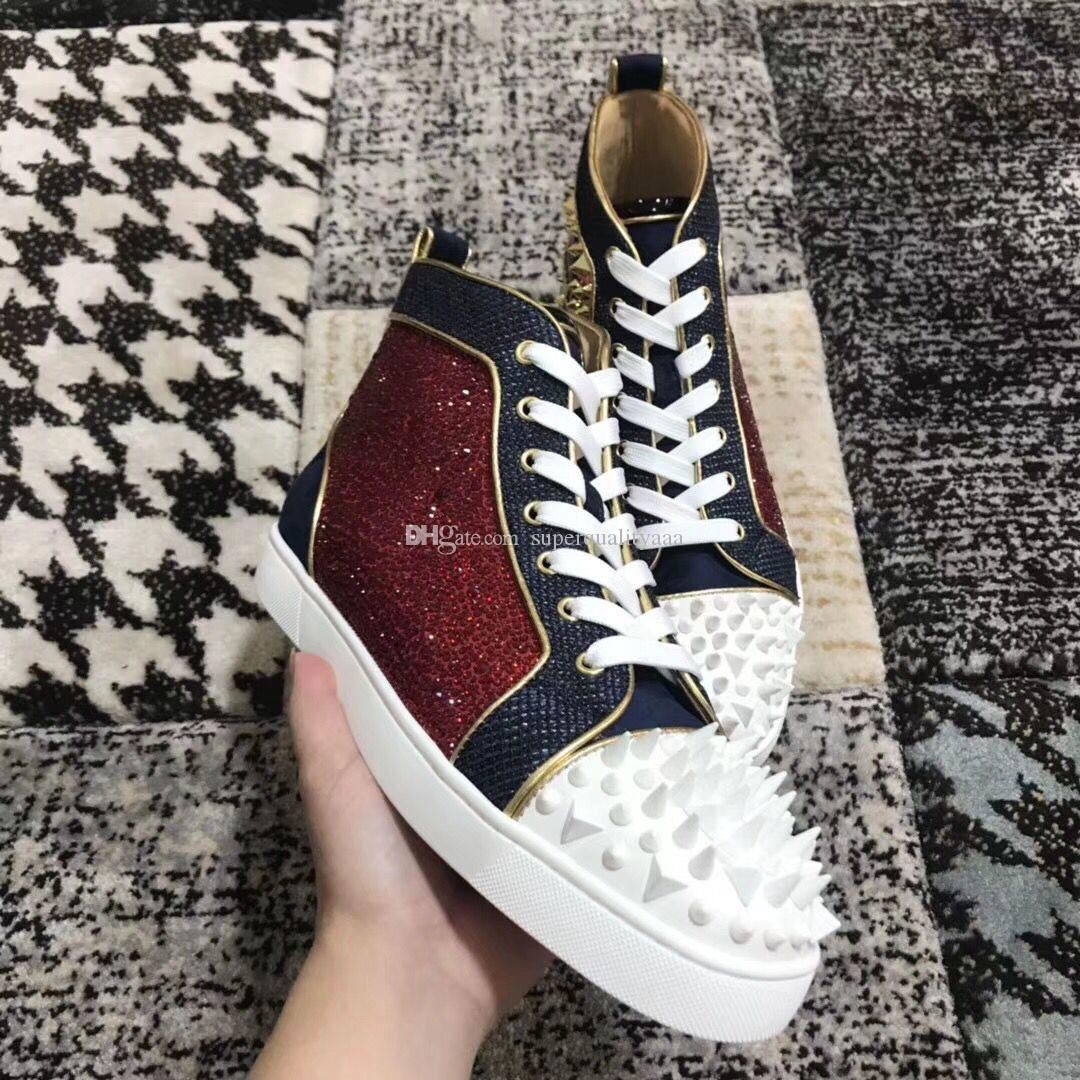 008c94327141 Luxury Wholesale High Quality Men Women Red Bottom Sneakers Loubitag Strass  Pik Pik No Limit 18S Trainer Party Dress Wedding EU35 46 Ladies Shoes  Loafers ...