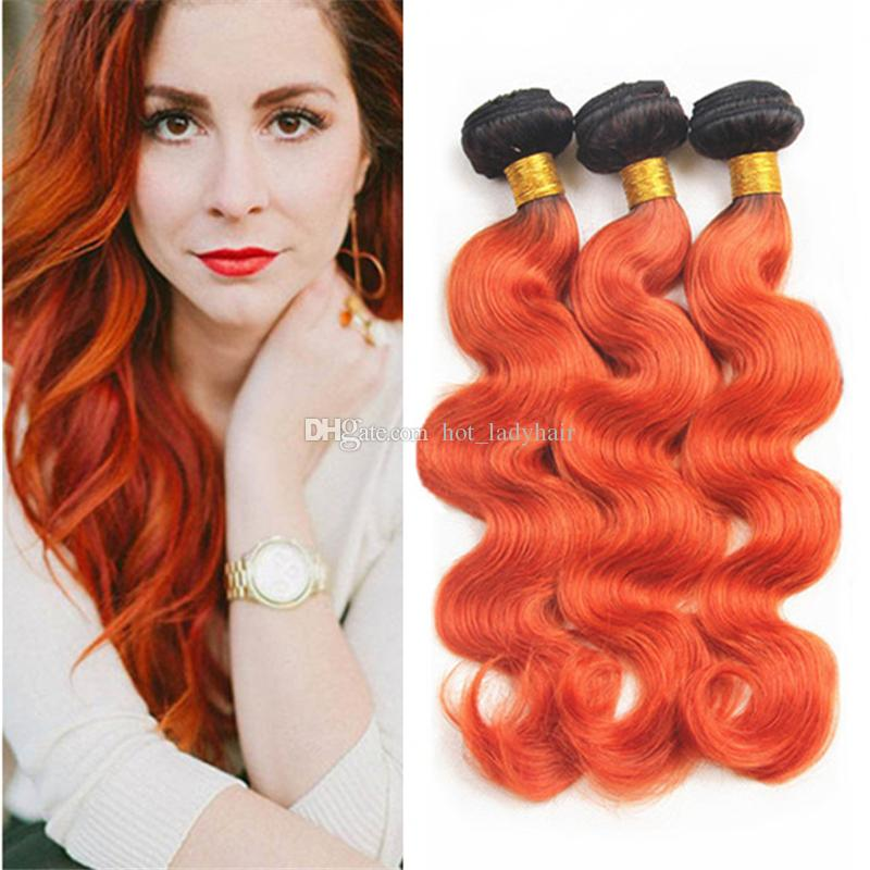 Dark Roots Orange Ombre Hair Bundles 10 30 Two Tone 1B Orange Ombre Body  Wave Brazilian Virgin Human Hair Weaves Extensions Best Hair Weave For  Black Women ... c6218bf5e3