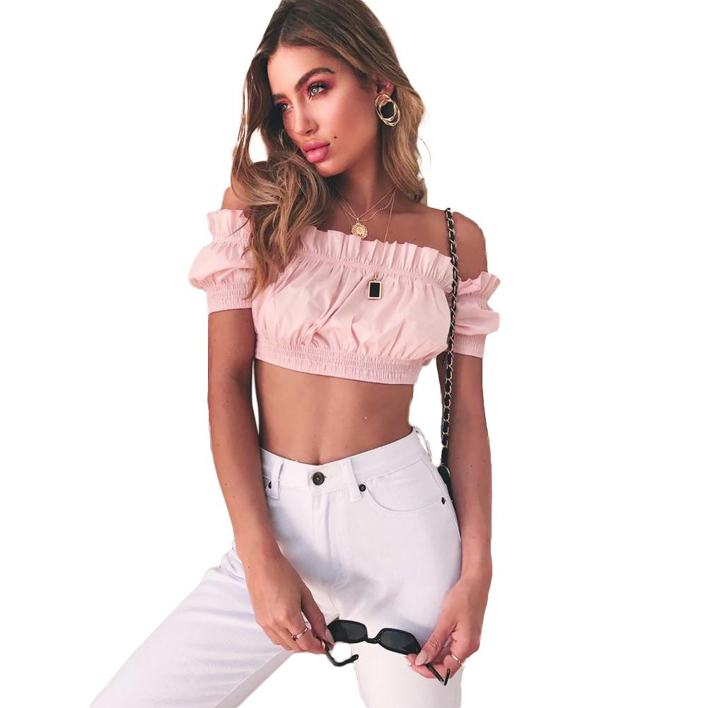76d35926f51 2019 Women Sexy Off Shoulder Crop Top Short Sleeves Frill Slash Neck Summer Cropped  Tops Feminino Elastic Solid Casual Shirt Blouse From Stephanie12, ...