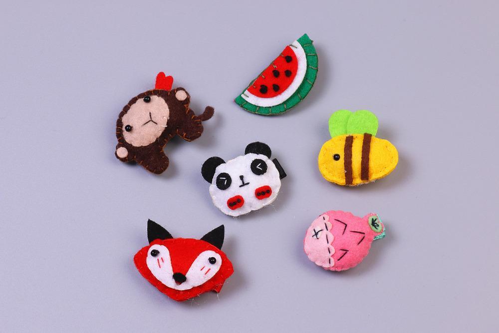 Fashion Cute Felt Animals Fox Panda Lion Monkey Bee Rabbit Hairpins Solid Kawaii Cartoon Hair Clips Headware Accessories