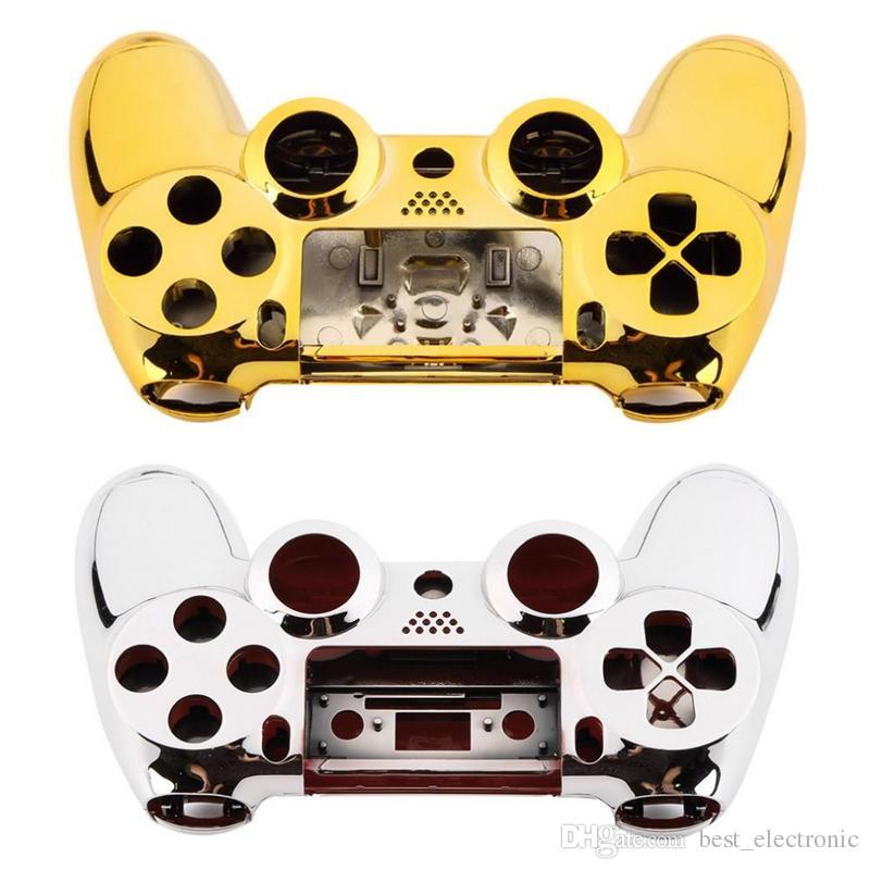 Ensemble de boutons de couverture de peau de boîtier de boîtier complet avec boutons complets de remplacement de kit de mod pour Playstation 4 PS4 contrôleur doré six couleurs