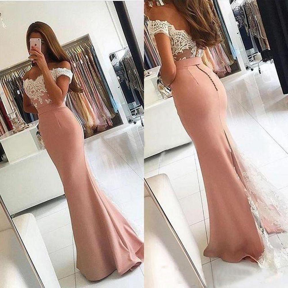2018 Vintage Lace Applique Off the Shoulder Satin Formal Evening Dress Elegant Mermaid Button Full Length Guest Dress