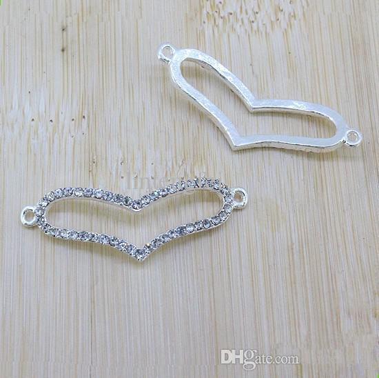 Comercio al por mayor de plata chapada en oro de ancho corazón pulsera del conector Beads Fit joyería DIY