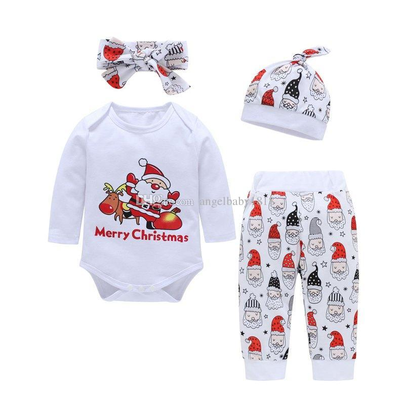 3b563d170 2019 INS Set Merry Christmas Letter Print Newborn Baby Boys Girls Cotton  Romper Tops + Baby Santa Print Pp Pants + Headband + Kids Hats From  Angelbaby1818, ...