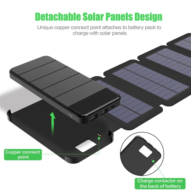free SunPower folded solar 20000mah energy holster Battery Charger Solar Power Bank Removable Solar Charger Case for Electronic products