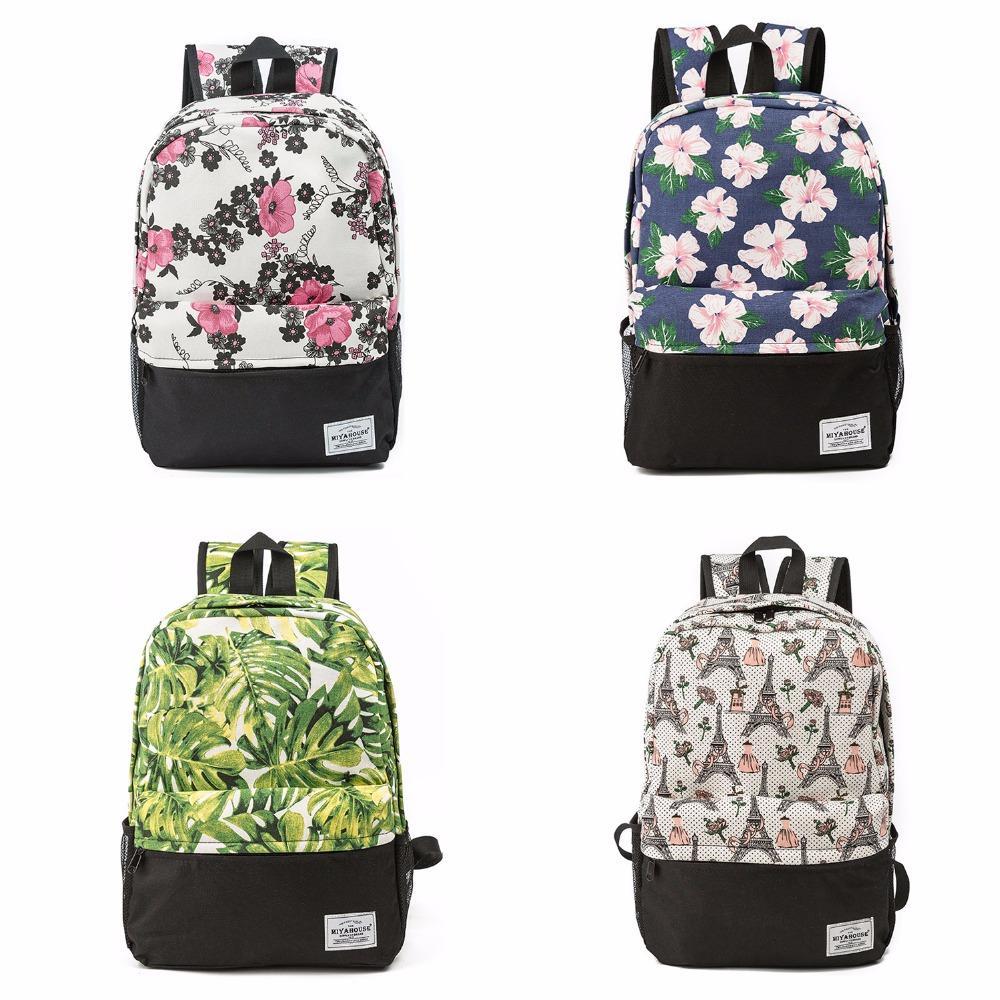 790990fe1d54 Women Backpacks For Teenage Girls Floral Printed School Bags Travel ...