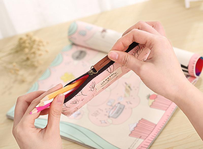 2018 مدرسة جديدة قماش حقائب الأطفال قلم رصاص الحقيبة سستة جميل لطيف حقائب التجميل مكتب العربة حقيبة قلم رصاص القضية