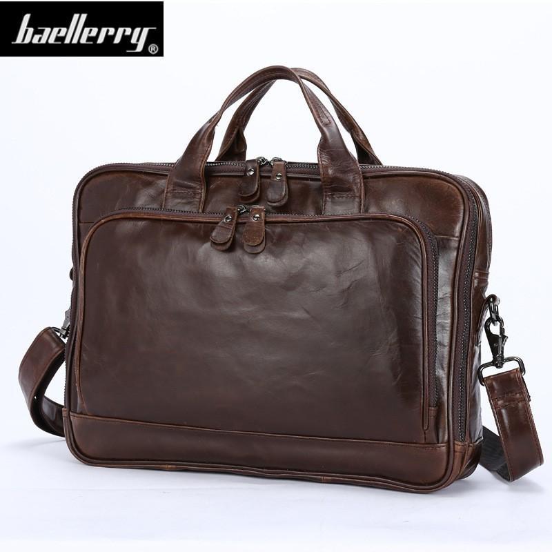 6a0f474af2 Genuine Leather Men Briefcase Office Bag Business Laptop Tote Bag ...