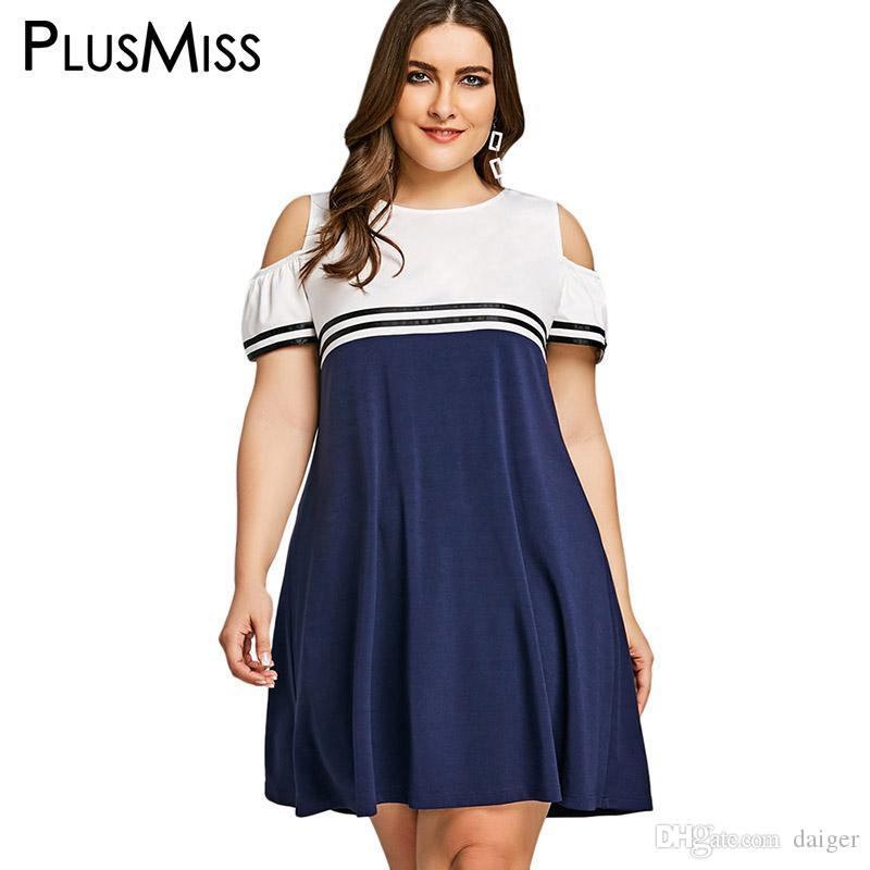 84d6c9eb7de 2019 PlusMiss Plus Size 5XL Summer 2018 School Sexy Cold Shoulder Dress  Women Clothing Large Size Sundress Short Sleeve Loose Dresses From Daiger