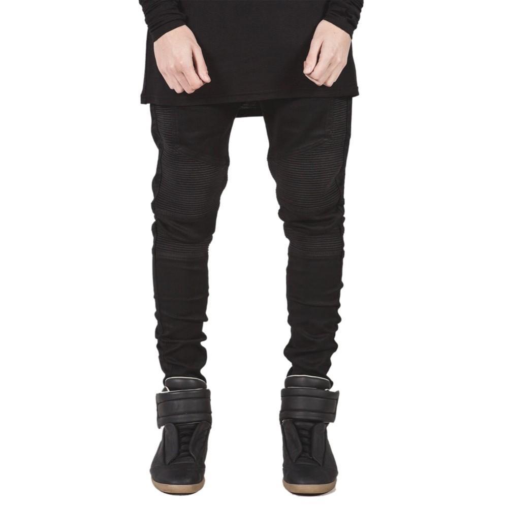 f4d3b1d02 Compre Pantalones Vaqueros Flacos Para Hombre 2016 Runway Distressed  Pantalones Vaqueros Elásticos Delgados De Mezclilla Pantalones Hiphop  Bikers Washed ...