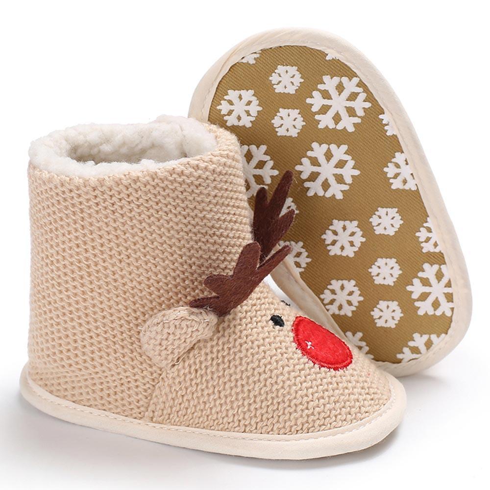978efcb762e3c Acheter Cerf De Noël Nouveau Né Bébé D hiver Chaussures À Tricoter Bottes  Chaudes Lit Bébé Infantile Filles Garçons Tout Petits Première Walker  Chaussures ...