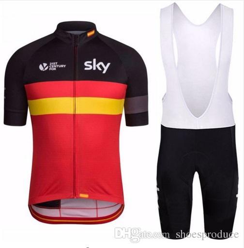 New Style Sky Cycling Jerseys Bib Gel Set Short Sleeve MTB Mountain ... 7a3d4fc37