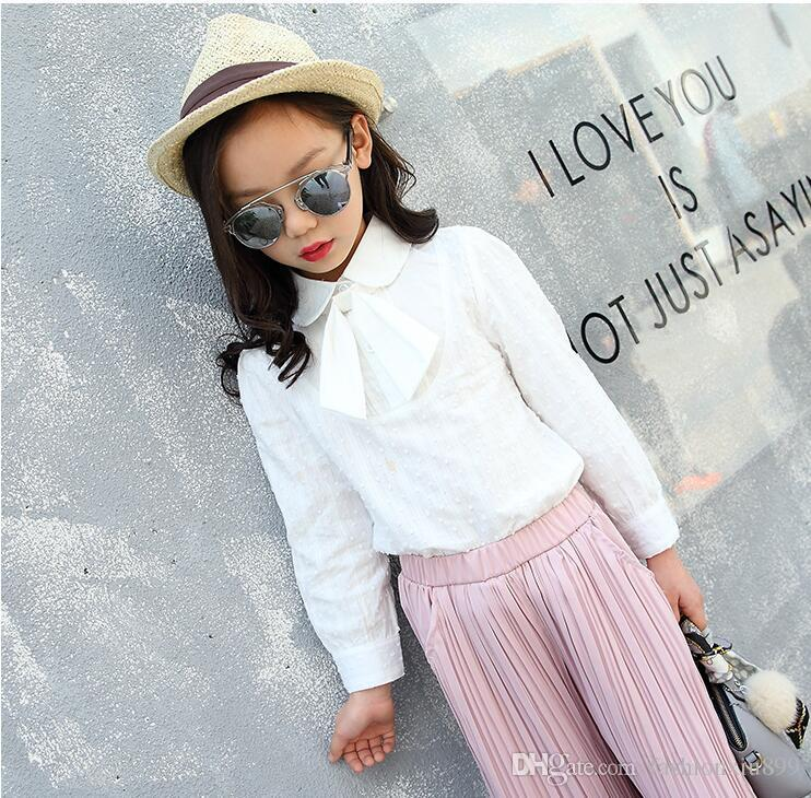 White Blouses For Girls School Clothes Long Sleeve Lace Up Bowknot Shirts Casual Solid Bottoming Shirts 4 6 8 10 11 12 14 Years