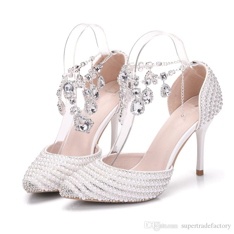 76d7f4449e5 New Designer Ankle Strap Bride Shoes 3 Inches High Heels Pointed Toe  Wedding Dress Shoes Performance Stage Shoes White Pearl