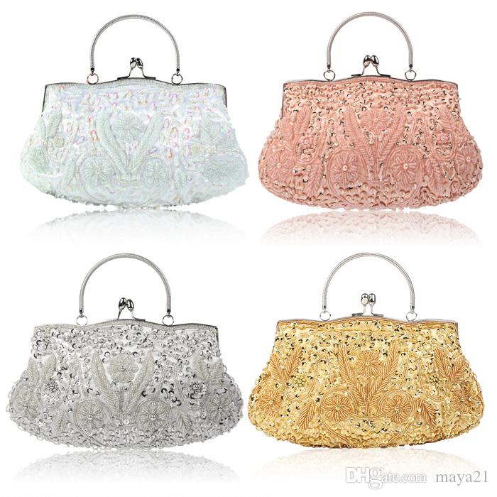 a5363fb368 Wedding Clutches Bridal Handbags Wedding Bags Totes Clutches Beaded Handbag  Grey Handbags Handbags Online Shopping From Maya21