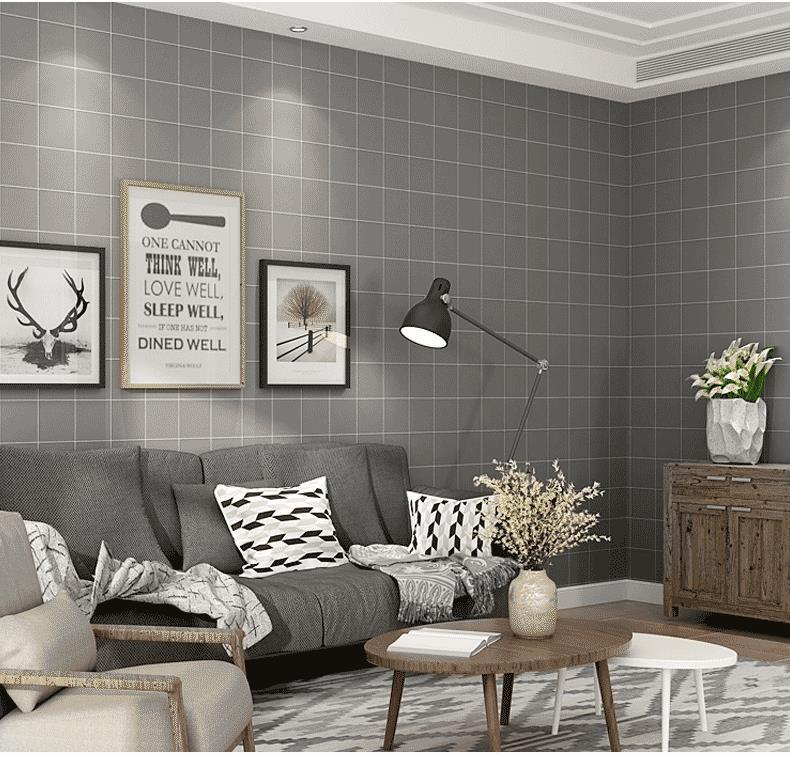 New Modern Minimalist Black White Plaid Wallpaper Nordic Style