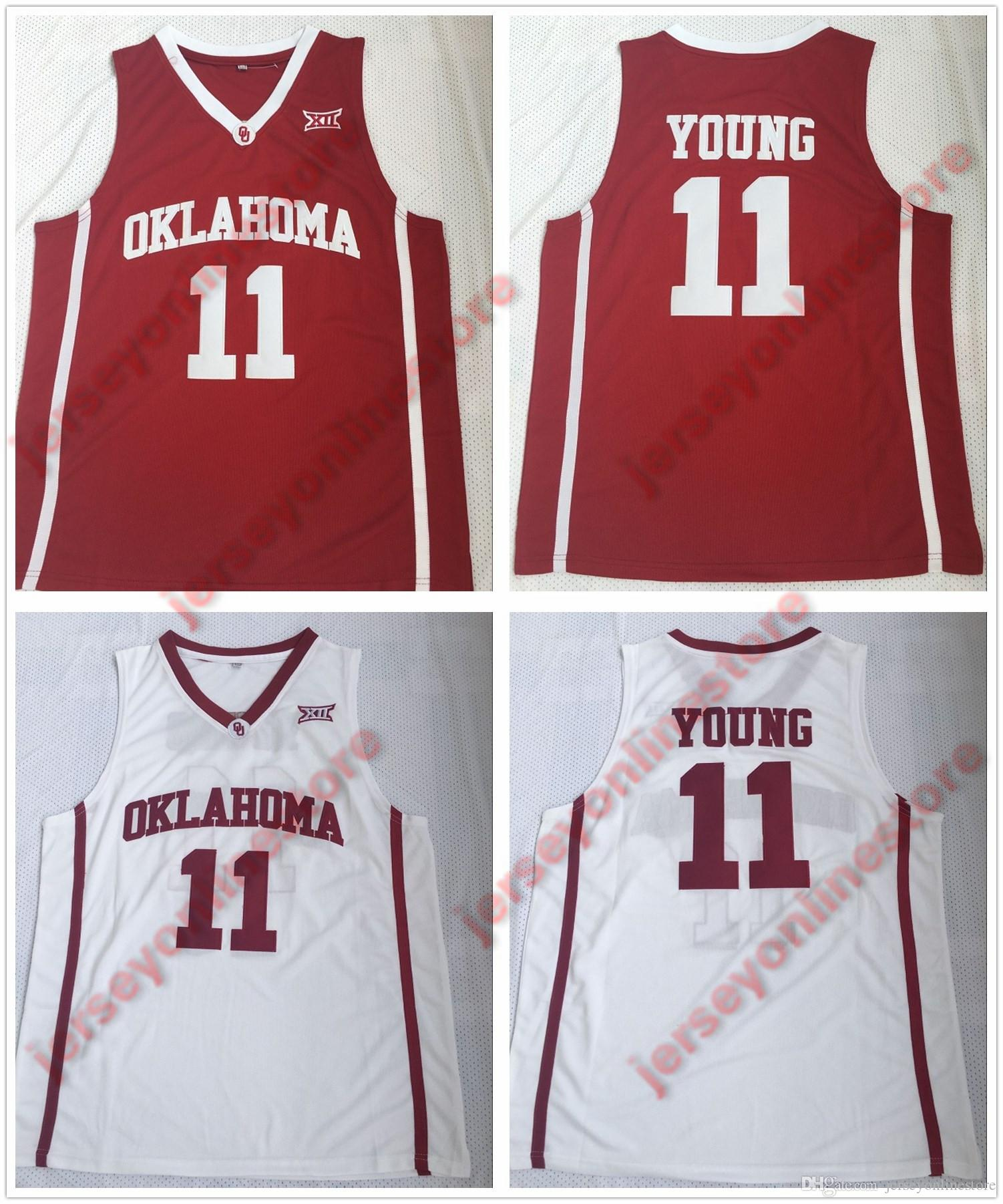 NCAA Cheap Mens Oklahoma Sooners  11 Trae Young Jersey Red White ... 127e1636a