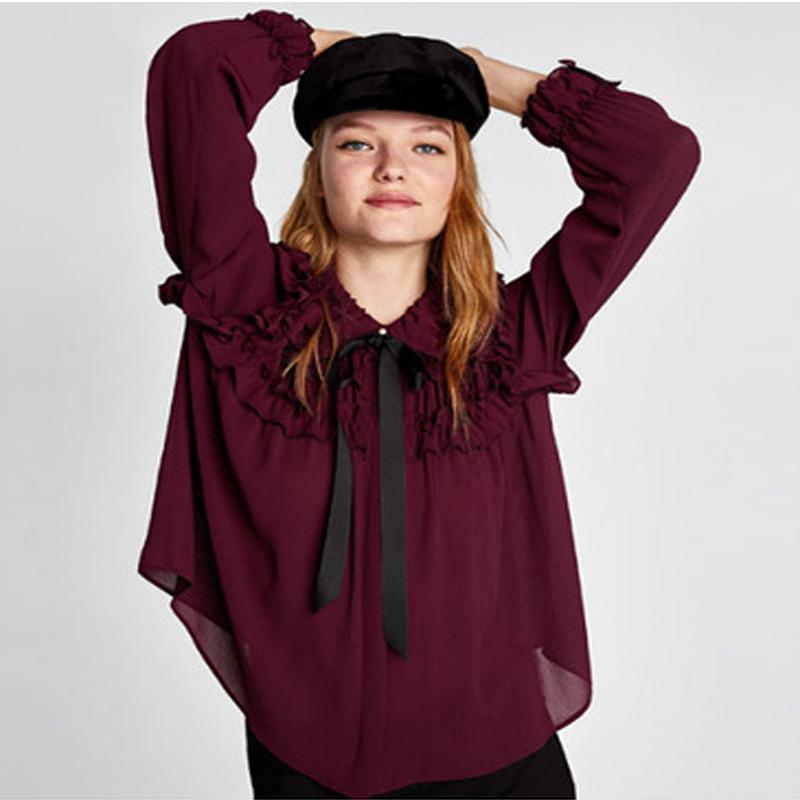 SESOAF Sexy Ruffle Wine red Chiffon Blouse Women Transparent Bow Ribbon Pearls Button Blouse Shirt 2018 Spring Vintage Vestido