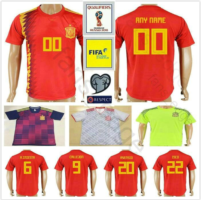 733f87eeb23 2019 2018 2019 Spain Soccer Jersey 6 A. INIESTA 21 SILVA 10 FABREGAS 20  ASENSIO 22 ISCO SERGIO RAMOS PIQUE Home Away Football Shirt From  James_01_shop, ...