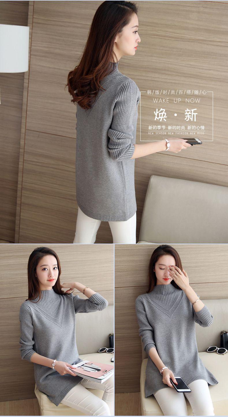 Frauen Pullover 2018 Herbst und Winter weibliche mittel-lange grundlegende Pullover einfarbig gestrickt Top Teenager Mädchen weiß schwarz rosa grau