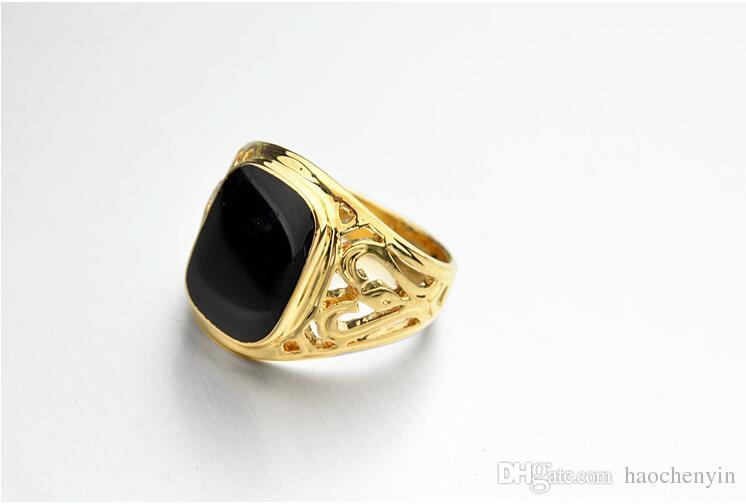 L'annata dei monili italiani di marca scava fuori gli anelli neri classici degli uomini classici placcati oro reale 18K Trasporto libero