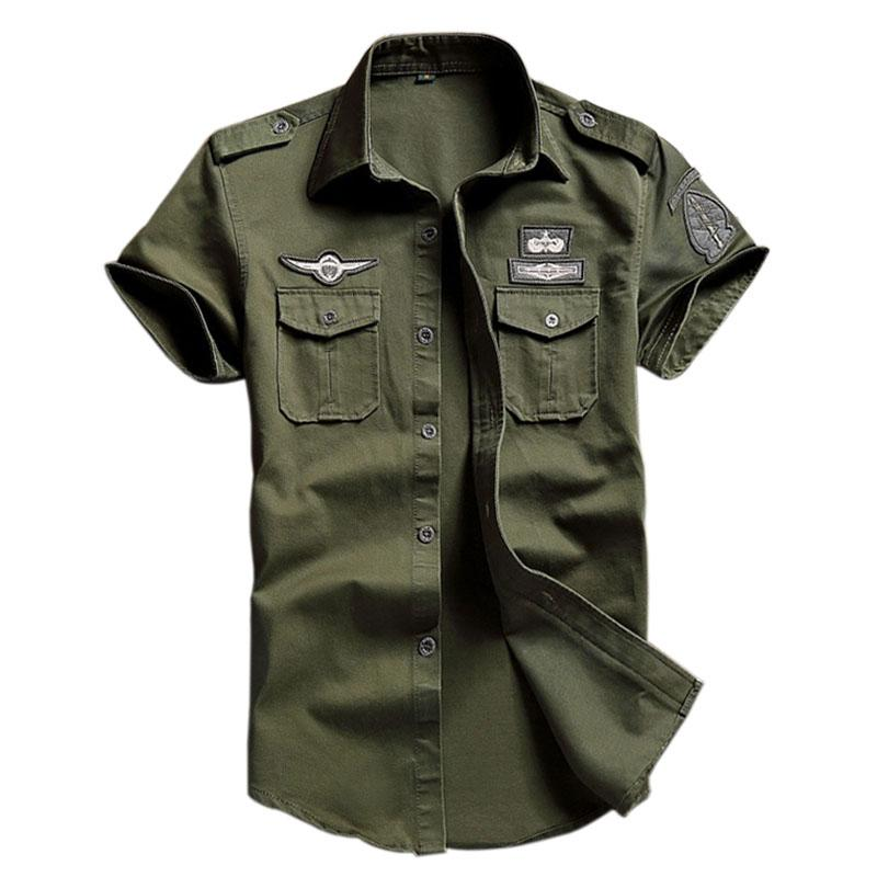 7c8dc521558 2019 Men  S 100 %Cotton Cargo Shirts Casual Solid Short Sleeve Work Brand  Pilot Shirt Military Camouflage Chemise Plus Size M 6xl 8523 From Netecool