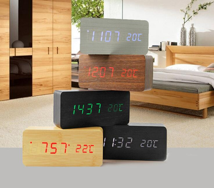 Upgrade fashion LED Alarm Clock despertador Temperature Sounds Control LED night lights display electronic desktop Digital table clocks