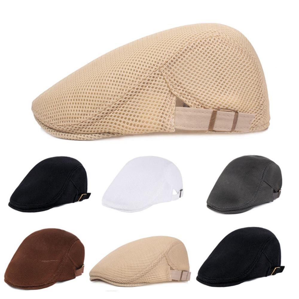 Mens Breathable Mesh Summer Duckbill Hat Newsboy Beret Ivy Cap Cabbie Flat  Soft Driving Outdoor Adjustable Caps Hats Fitted Cap From Enchanting11 bfddd4f2e4a