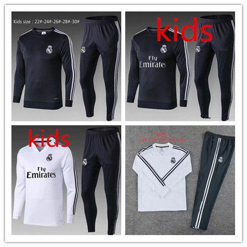 Kids Real Madrid Tracksuit Jogging Boys Soccer Long Sleeve Kit ... 21ca07d75af1a
