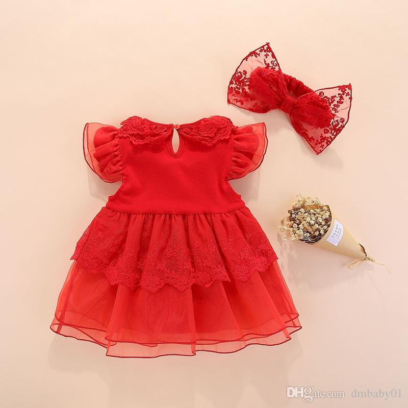Baby girls dresses clothing Summer girls princess dress tutu bowknot toddler clothes pink lace dress for a full moon birthday gift