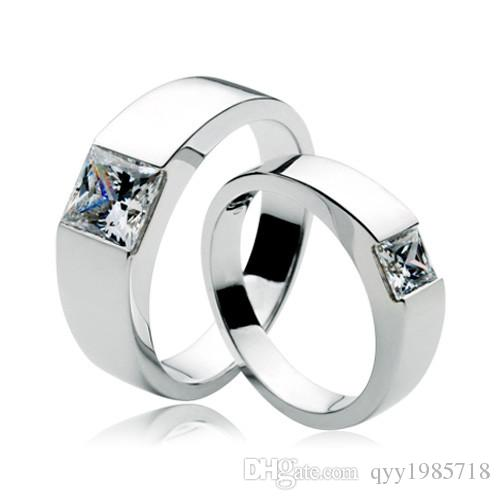 9c8204ac98 2019 Wholesale Sterling Silver His And Her Couple Jewelry Princess Rings  Lovers 1.5CT Synthetic Diamonds Couple Rings 585 Gold Color Pair Rings From  ...