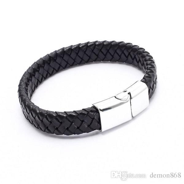 Mens Wide Genuine Black Leather Bracelet Punk Weave Chain Bangle for Men Wemon Vintage Bangle Bracelet Demon868