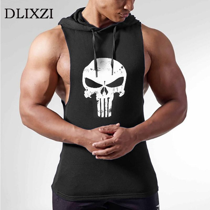 5ff72df3d13275 2019 Dlixzi Men Sleeveless Hoodie Punisher Tank Top Street Workout  Sweatshirts Fitness Wear Hooded Vest Man Gyms Bodybuilding Clothes From  Netecool
