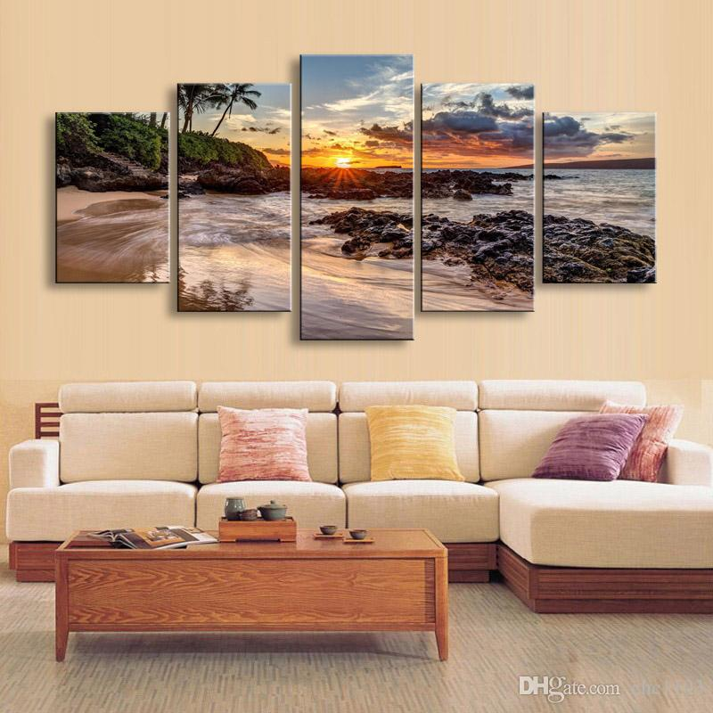 high-definition print beach landscape canvas oil painting poster and wall art living room picture PL5-225