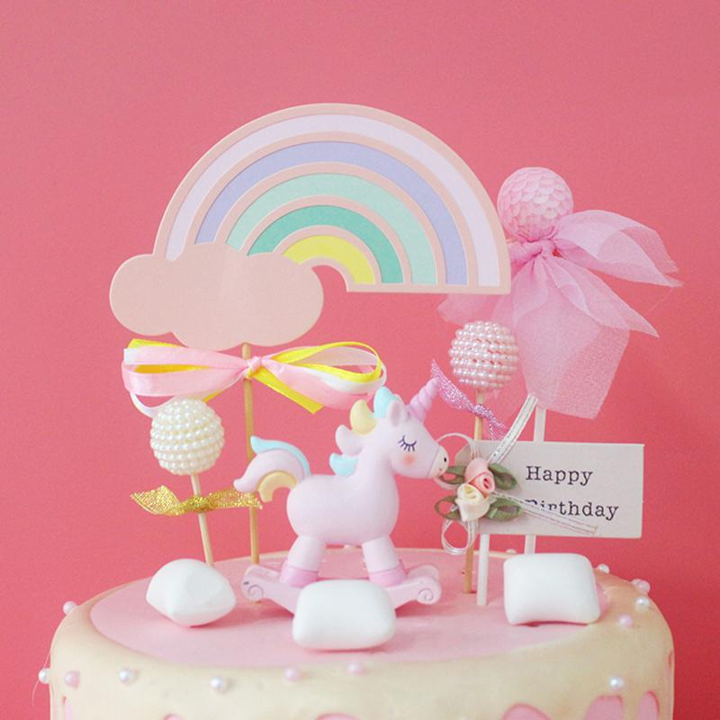 2019 Sweet Rainbow Unicorn Birthday Cake Topper Decoration Baby Shower Kids Party Wedding Favor Supplies From Lienal 3238