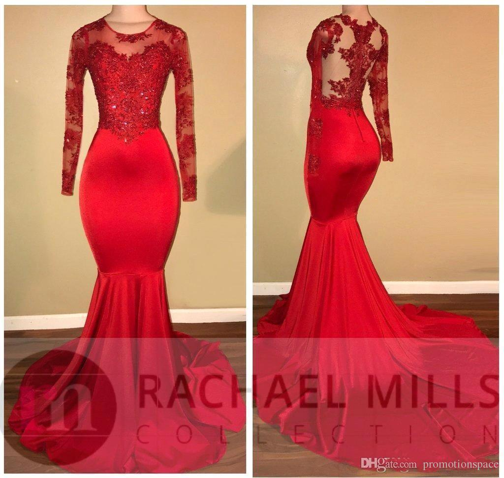African Red Long Sleeve Mermaid Prom Dresses 2020 Beads Crystal Lace Appliqued Elastic Satin Sweep Train Women Formal Party Gowns BA7856