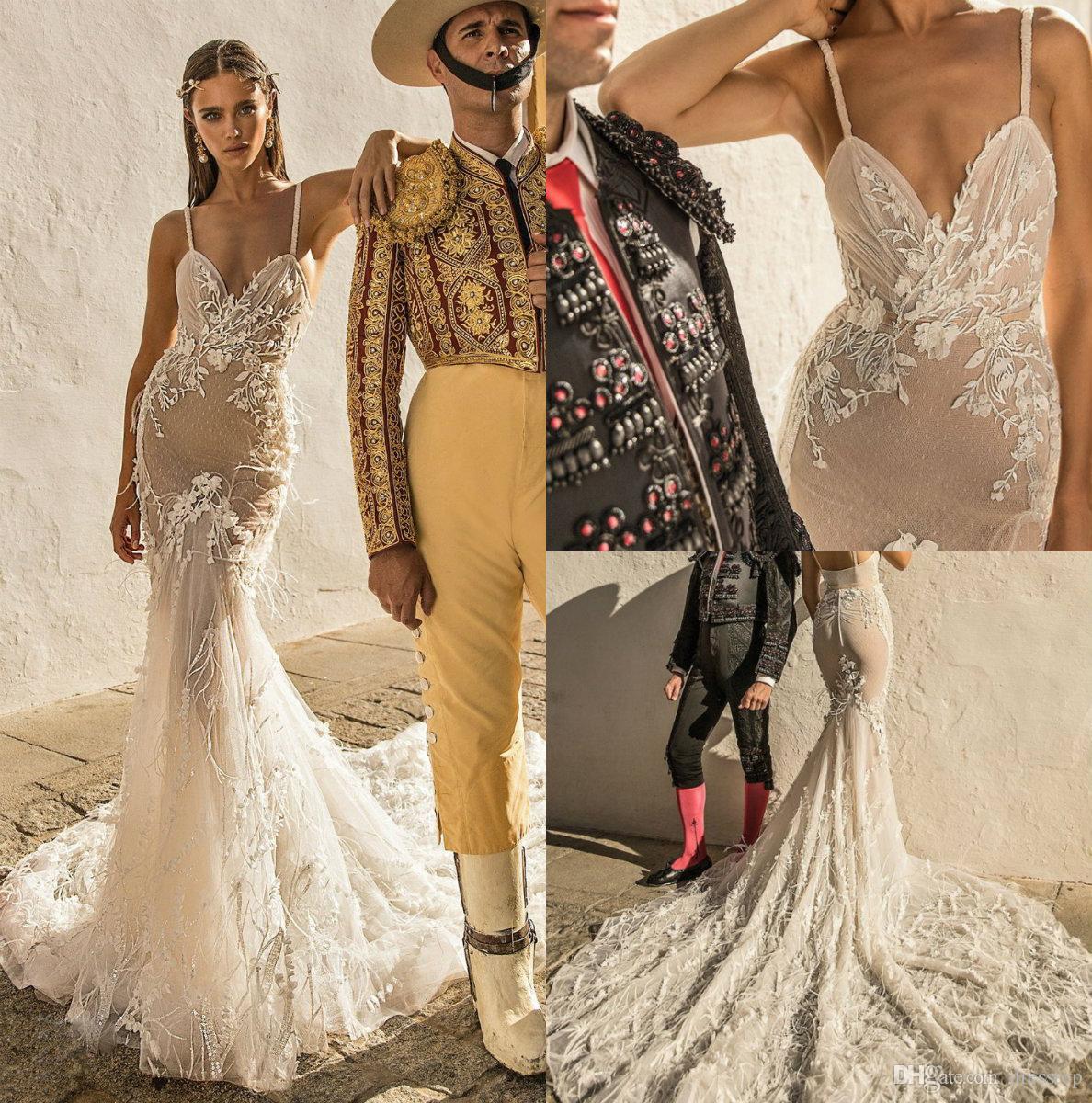 Berta Mermaid Wedding Dresses 2019 Spaghetti Backless Lace Bridal Gowns With Feathers Plus Size vestido de novia Beach Wedding Dress