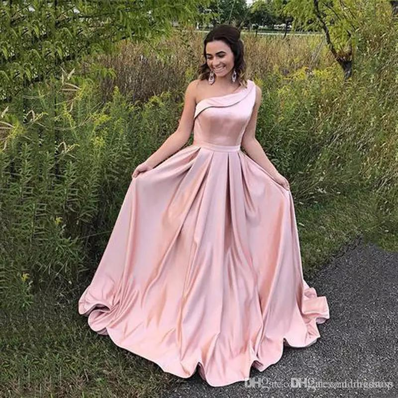 da1bee3799 One Shoulder A Line Evening Dresses Sleeveless Blush Pink Prom Gowns Back  Zipper Tiered Ruffle Sweep Train Back Zipper Formal Party Gowns Ladies  Evening ...