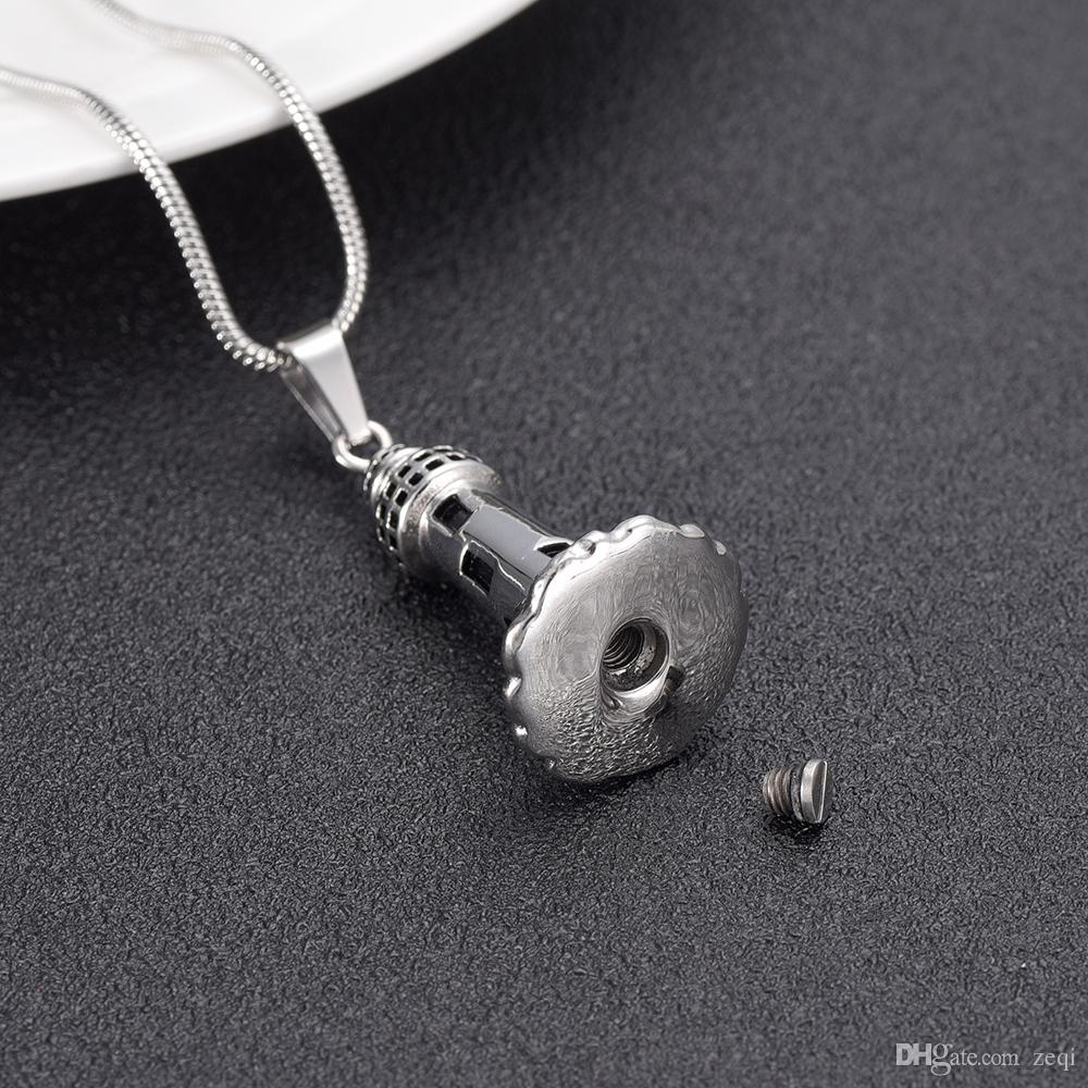 IJD10012 The Lighthouse Cremation ashes turned into jewelry Stainless Steel Men Keepsake Memorial Urn Pendant For man