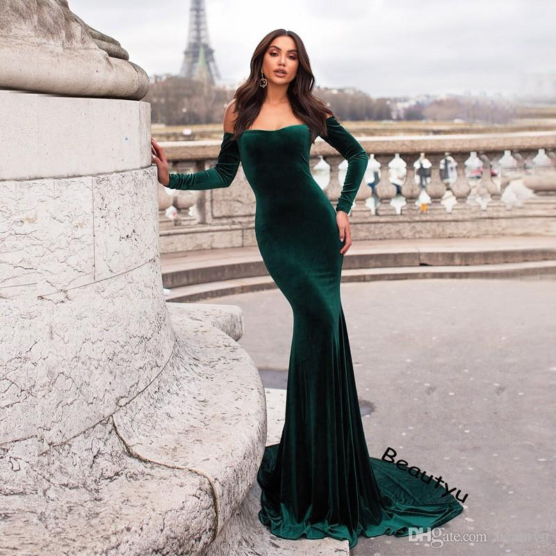 28d573ab4f6a Hunter Green Velvet Mermaid Evening Dresses Formal Wear 2018 Plus Size Off  Shoulder Long Sleeve African Arabic Abaya Women Prom Party Gown Formal And  ...
